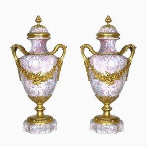 Marmor und Bronze Cassoletten, 19. Jh., 2er Set