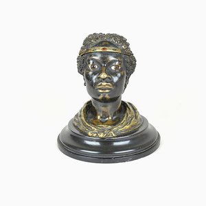 19th Century Orientalist Bronze Inkwell of a Woman's Head