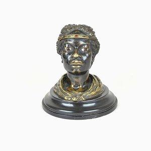 Enfilade de Tête de Femme Orientaliste 19ème Siècle en Bronze