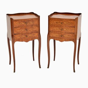Antique French Inlaid Marquetry Bedside Chests, Set of 2