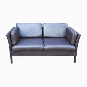 Mid-Century Danish 2-Seat Leather Sofa Attributed to Illums Bolighus