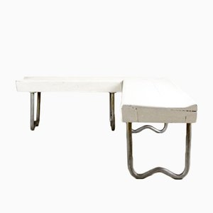 Mid-Century Bauhaus Tubular Steel L-Shaped Seat
