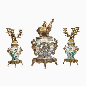 19th Century Japanese Porcelain and Bronze Set from Seguin