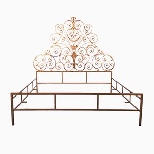 Vintage Gold Wrought Iron Double Bed, 1940s