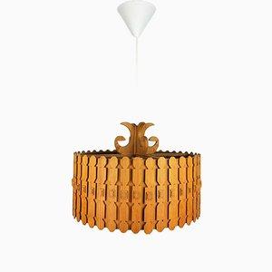 Vintage Scandinavian Pine Ceiling Lamp, 1960s