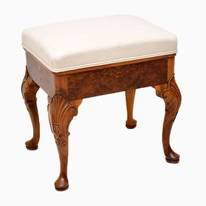 Antique Burr Walnut Upholstered Stool