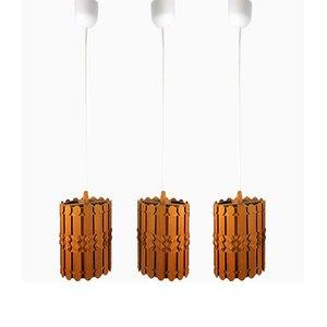 Lampade da soffitto vintage in pino, Scandinavia, anni '60, set di 3