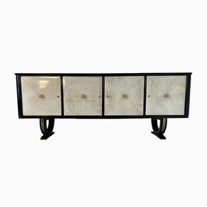 Italian Art Deco Parchment and Brass Sideboard, 1940s
