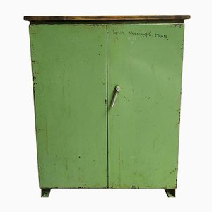 Industrial Green Steel and Wood Cabinet, 1970s