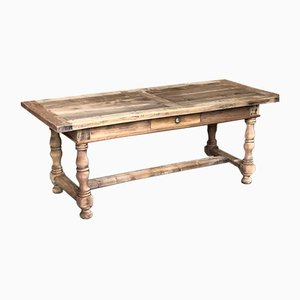 Mid-19th Century French Rustic Bleached Walnut Farmhouse Kitchen Dining Table