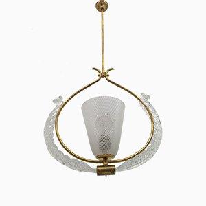 Lampe à Suspension Art Deco en Verre Murano Reticello par Ercole Barovier pour Barovier & Toso, Italie, 1940s