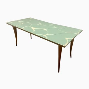 Mid-Century Dining Table with Marbled Glass Top, 1960s