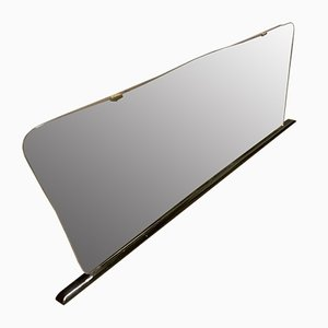 Wooden Mirror with Black Lacquer and Brass Finish, 1960s