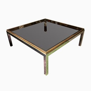 Chrome and Brass Square Coffee Table by Willy Rizzo, 1970s