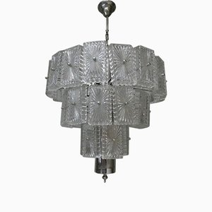 Steel and Carved Glass Suspension Chandelier, Venice, 1960s