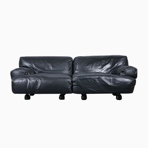 Vintage Leather Fiandra 2-Seat Modular Sofa by Vico Magistretti for Cassina, 1970s