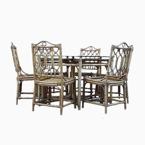 Italian Octagonal Dining Table & Chairs Set, 1950s, Set of 7