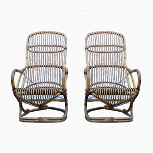 Italian Bamboo Lounge Chairs by Tito Agnoli, 1950s, Set of 2