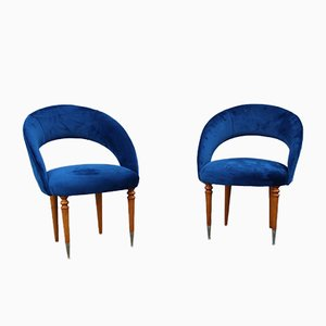 Italian Blue Cobalt Velvet, Maple & Brass Bedroom Chairs, 1950s, Set of 2