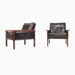 Mid-Century Patinated Leather & Rosewood Lounge Chairs by Hans Olsen for CS Mobelfabrik, 1960s, Set of 2