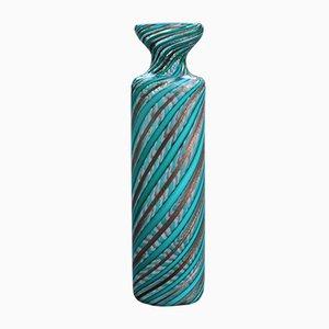 Italian Green and Venturina Murano Glass Vase Attributed to Venini, 1950s