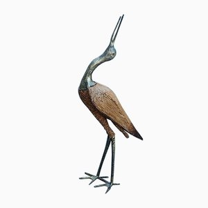Italian Golden Metal Heron with Bamboo Rods, 1970s