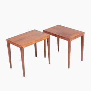 Mid-Century Danish Rosewood Side Tables by Severin Hansen for Haslev Møbelsnedkeri, 1950s, Set of 2