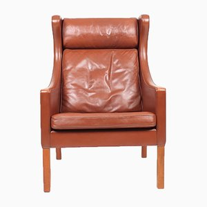 Mid-Century Danish Wingback Chair in Patinated Leather by Børge Mogensen for Fredericia, 1960s