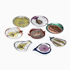 Vintage Porcelaine Side Dishes by Piero Fornasetti for Atelier Fornasetti, Set of 8