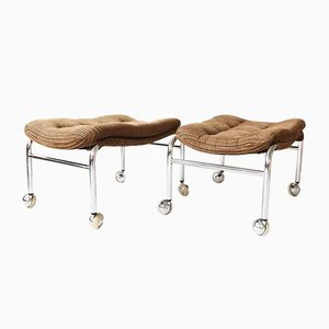 Mid-Century Chrome Seat Stools on Wheels, 1950s, Set of 2