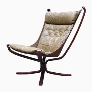 Vintage Leather Falcon Chair by Sigurd Resell for Vatne Møbler, 1970s