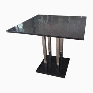 Mesa de granito con patas cromadas, años 90