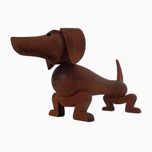 Großer Dänischer Teak Gravhunden Pind Dackel von Kay Bojesen, 1950er