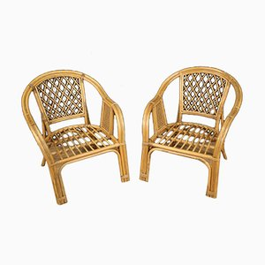 Italian Wicker Armchairs, 1960s, Set of 2