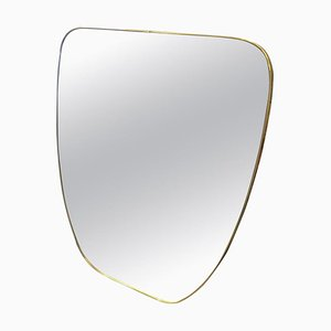 Mid-Century Modern Italian Brass Wall Mirror in the Style of Gio Ponti, 1950s