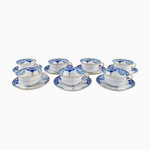 Art Deco Teacups with Saucers in Hand-Painted Porcelain from KPM, Berlin, 1930s, Set of 7