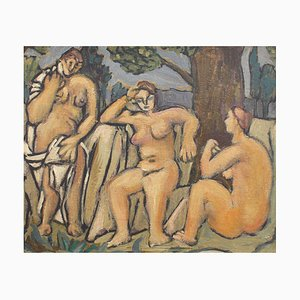 The Three Bathers after Paul Cezanne, German School, 1950s