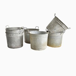 Vintage Galvanised Bucket Garden Planter Medium with Round Handle, 1950s