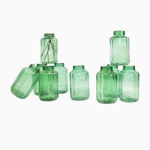 Hungarian Green Ribbed Storage Jar, 1950s