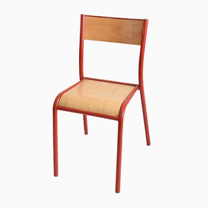 Red French School Mullica Chairs, 1960s, Set of 4