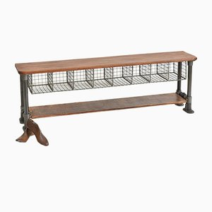 Vintage School Pigeon Hole Bench 1950s