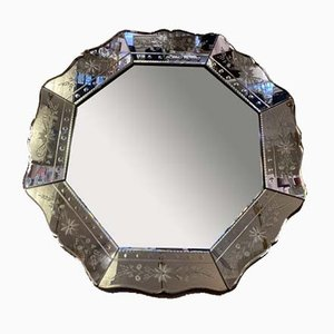 Venetian Hexagonal Beveled Floral Etched Mirror, 1930s
