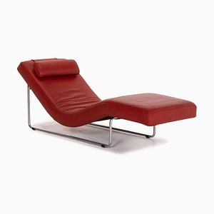 Red Leather 680 Relax Function Lounger from Rolf Benz