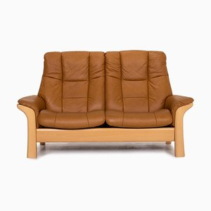 Cognac Brown Leather Kensington 2-Seat Function Sofa from Stressless