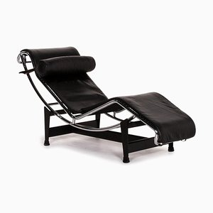 Black Leather LC4 Relax Function Lounger by Le Corbusier for Cassina