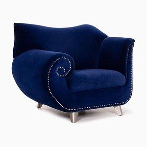 Dark Blue Velvet Gaudi Armchair from Bretz