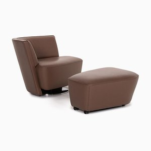 Brown Leather Drift Armchair & Stool by EOOS Design for Walter Knoll, Set of 2