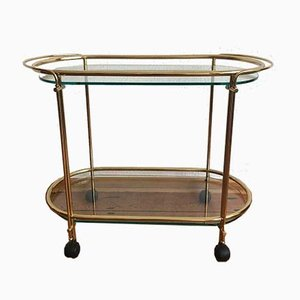 Golden Tea Trolley with Glass Plates, 1970s