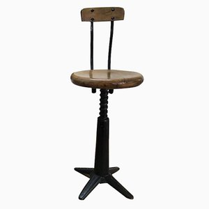 Industrial Cast Iron Stool from Singer, 1920s