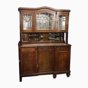 Walnut Cupboard with Beveled Glass and Marble Top